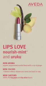 Aveda Lipstick Nourish-Mint and Uruku